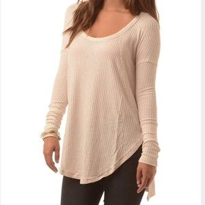 NWT Free People Heather Oat Thermal Waffle Top